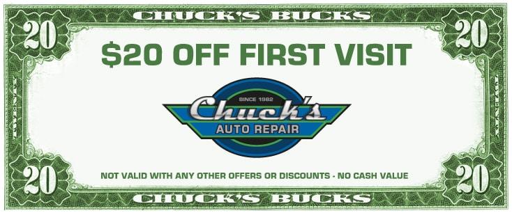 Chucks Auto Body >> Specials Chucks Auto Repair Seattle